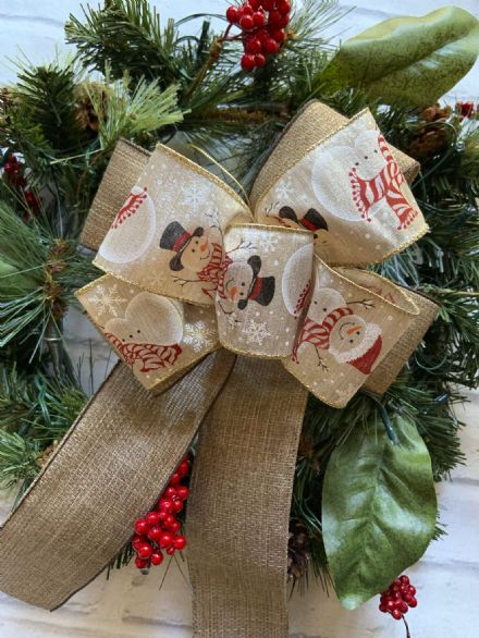 Hessian & snowmen Ribbon Bow